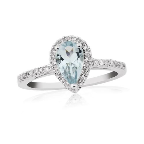 White gold pear shaped aquamarine and diamond cluster ring